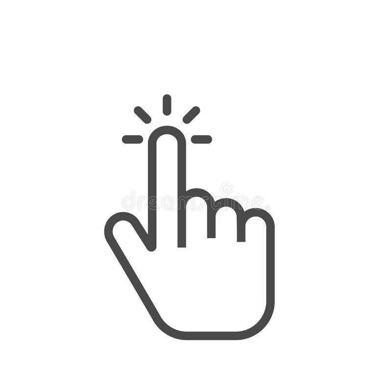 Icône de doigt de clic Cliquant sur l'indicateur d'isolement sur le fond blanc Vecteur illustration stock