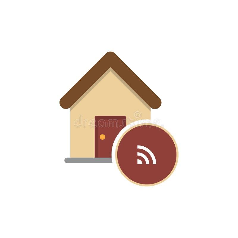 Icône de domotique Signe futé de maison Symbole à la maison sans fil de wifi Icône mince sur le fond blanc Illustration de vecteu illustration libre de droits