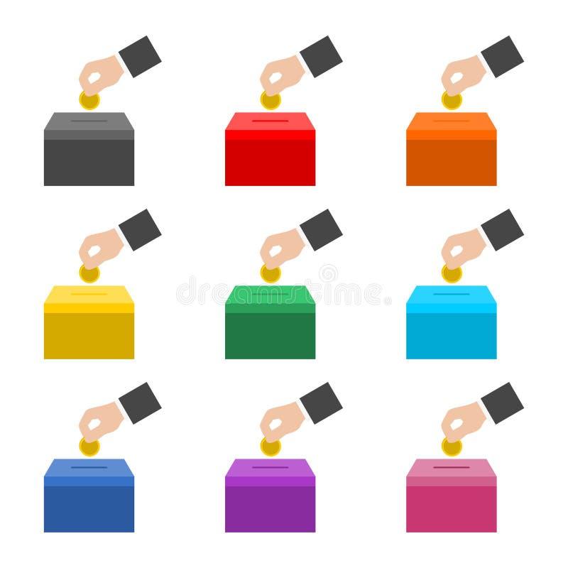 Icône de donation d'argent ou logo, ensemble de couleur illustration stock