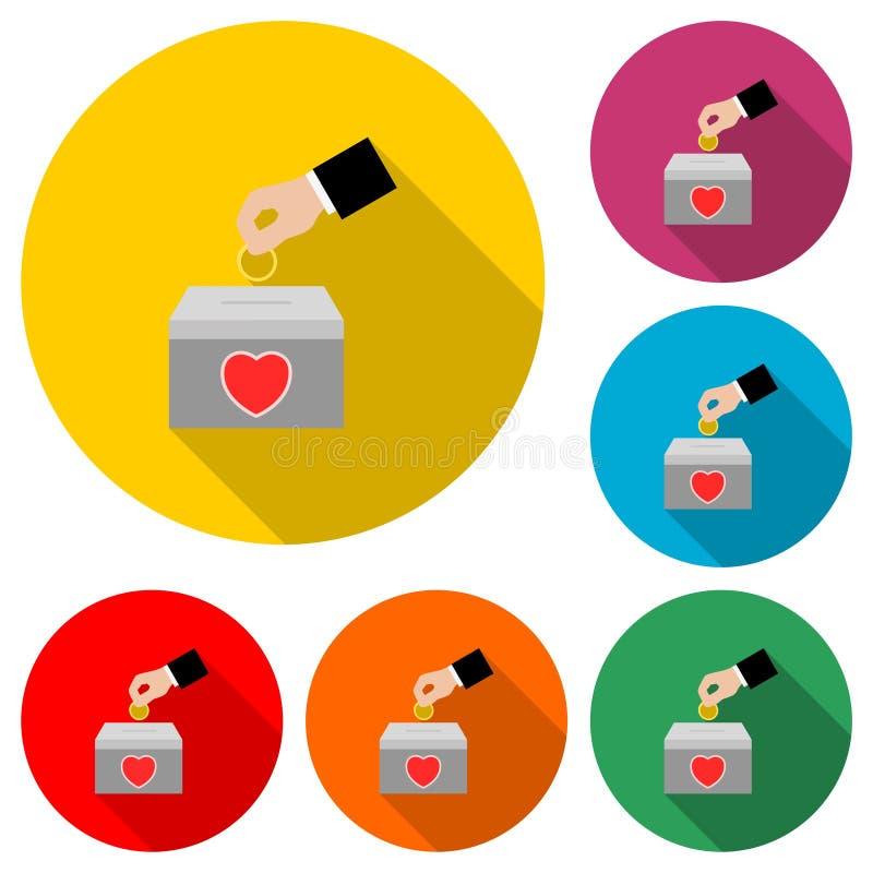 Icône de donation d'argent ou logo, ensemble de couleur avec la longue ombre illustration stock