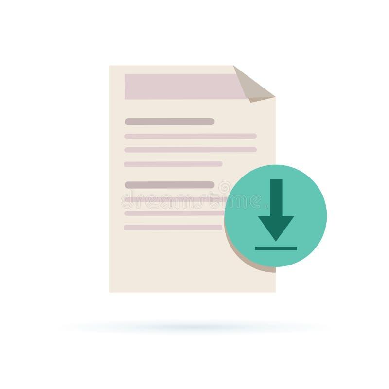 Icône de dossier de téléchargement de vecteur Cote du document avec l'illustrati de flèche illustration de vecteur