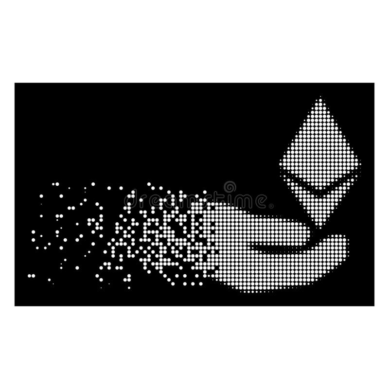 Icône de Dot Halftone Ethereum Offer Hand dispersée par blanc illustration libre de droits