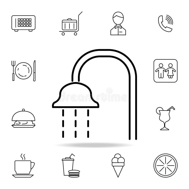 Icône de douche Élément d'icône simple pour des sites Web, web design, APP mobile, graphiques d'infos Ligne mince icône pour la c illustration libre de droits