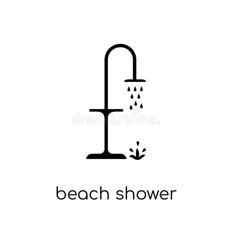 icône de douche de plage Douche linéaire plate moderne à la mode de plage de vecteur illustration stock