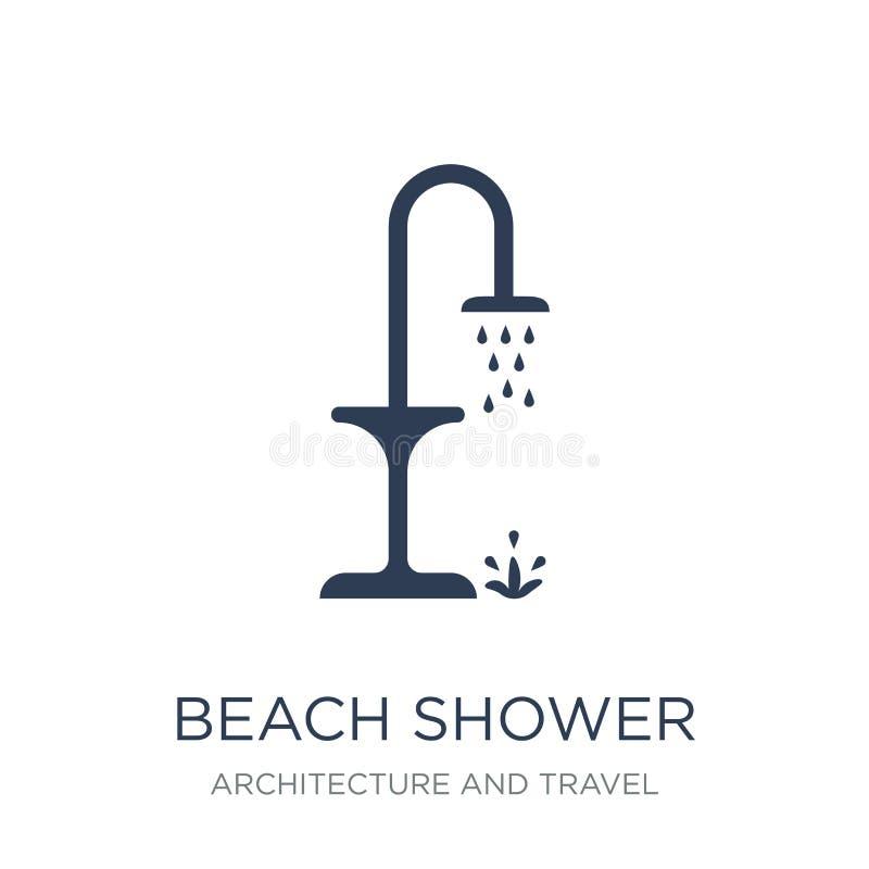 icône de douche de plage Icône plate à la mode de douche de plage de vecteur sur le blanc illustration stock
