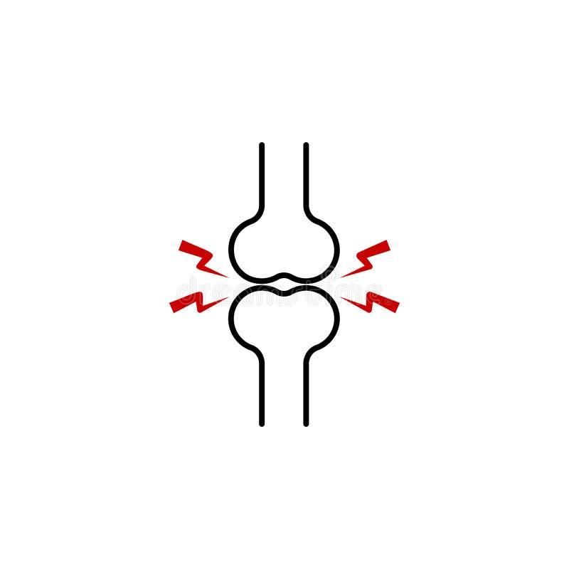 icône de douleur osseuse Élément de douleur de corps humain pour l'illustration mobile d'apps de concept et de Web Ligne mince ic illustration stock