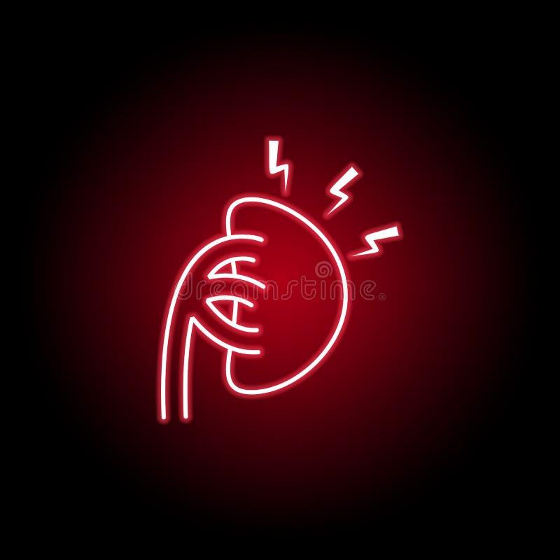 icône de douleur de rein dans le style au néon ?l?ment de douleur de corps humain pour l'illustration mobile d'apps de concept et illustration stock
