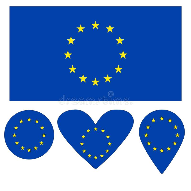 Ic?ne de drapeau, coeur, cercle, un indicateur, sous forme de drapeau de l'Union europ?enne photos stock