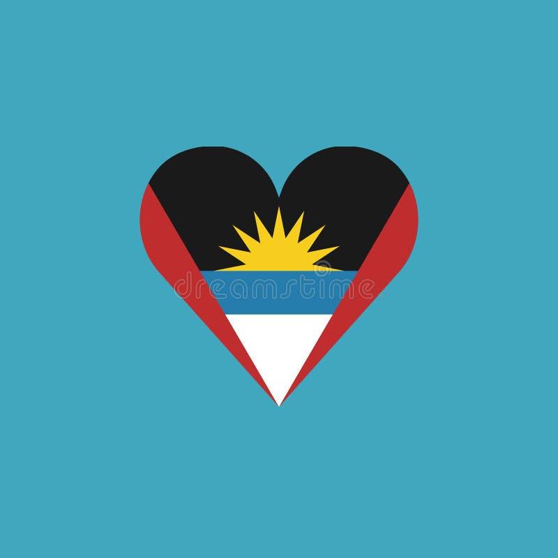 Icône de drapeau de l'Antigua-et-Barbuda dans une forme de coeur dans la conception plate illustration libre de droits
