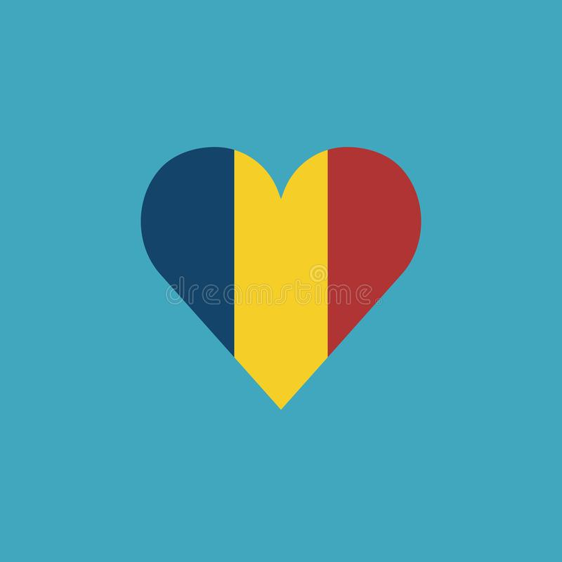 Icône de drapeau de la Roumanie dans une forme de coeur dans la conception plate illustration libre de droits