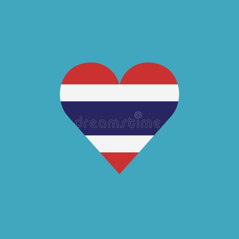 Icône de drapeau de la Thaïlande dans une forme de coeur dans la conception plate illustration de vecteur