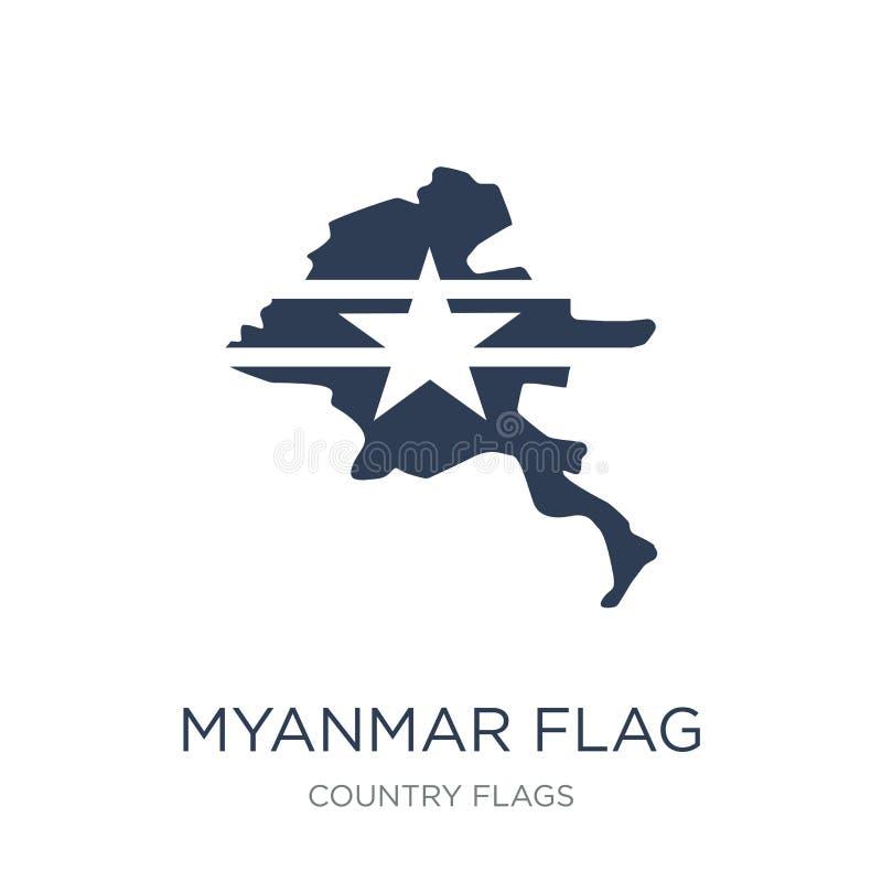 Icône de drapeau de Myanmar  illustration stock