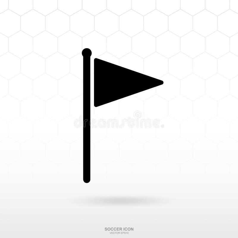Icône de drapeau de triangle Le signe et le symbole du football du football pour le calibre conçoivent illustration libre de droits
