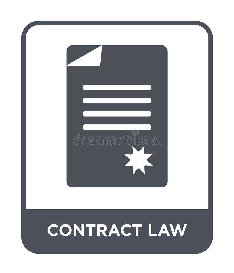icône de droit des contrats dans le style à la mode de conception icône de droit des contrats d'isolement sur le fond blanc icône illustration libre de droits