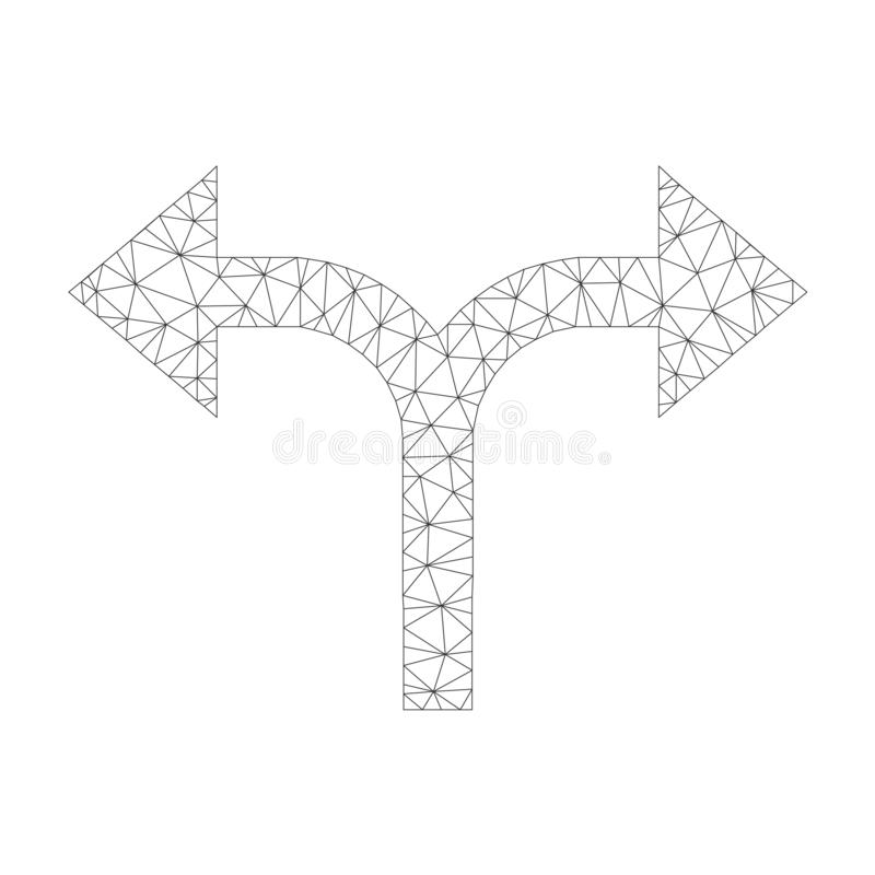 Icône de droit de Mesh Vector Bifurcation Arrows Left illustration libre de droits