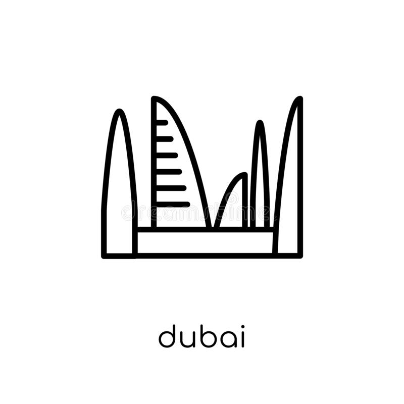 Icône de Dubaï Icône linéaire plate moderne à la mode de Dubaï de vecteur sur le blanc illustration stock