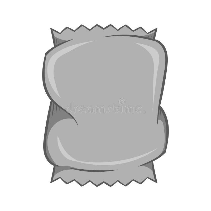 Icône de empaquetage chiffonnée, style monochrome noir illustration stock