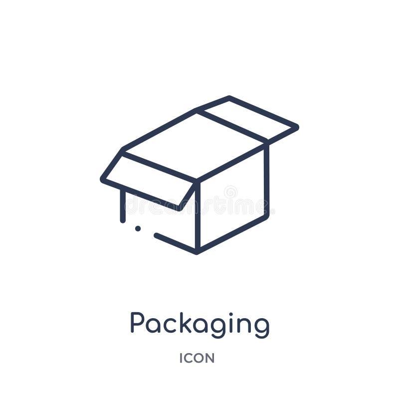 Icône de empaquetage linéaire de collection d'ensemble de Crowdfunding Ligne mince vecteur d'emballage d'isolement sur le fond bl illustration stock