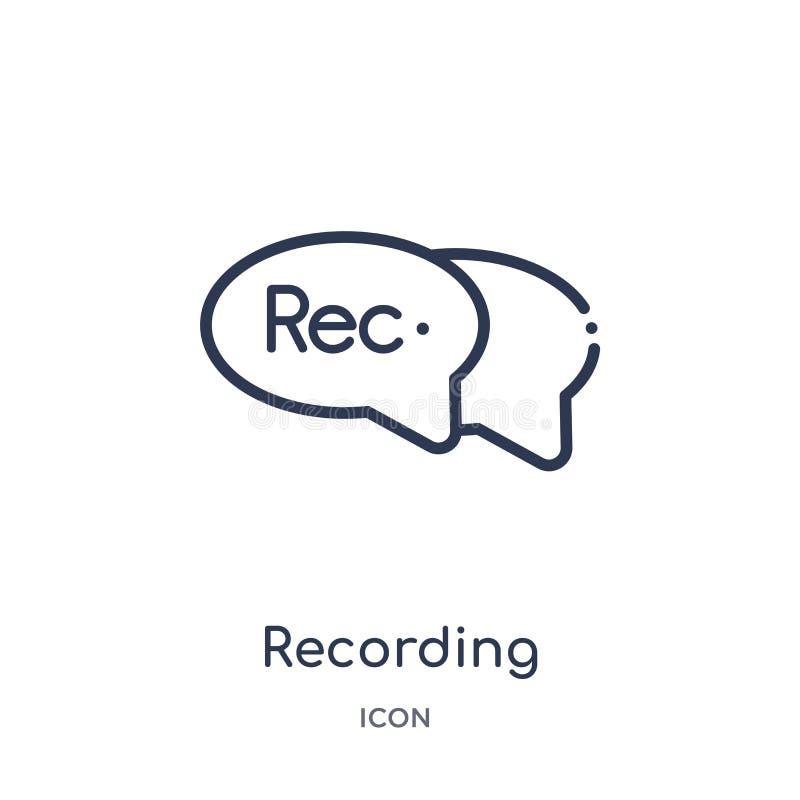icône de enregistrement de conversation de collection d'ensemble d'interface utilisateurs Ligne mince icône de conversation d'enr illustration stock