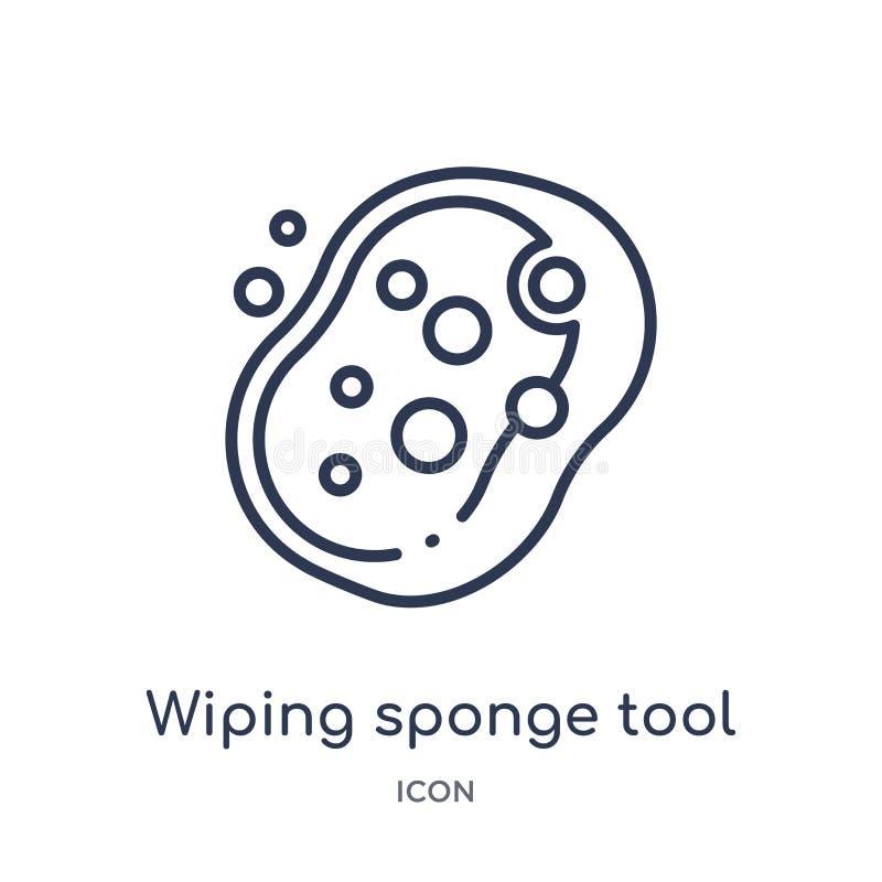 Icône de essuyage linéaire d'outil d'éponge de la collection de nettoyage d'ensemble Ligne mince essuyant le vecteur d'outil d'ép illustration stock