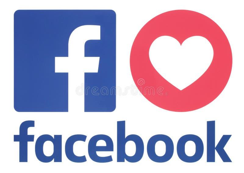 Icône de Facebook avec la réaction compréhensive d'Emoji d'amour illustration de vecteur