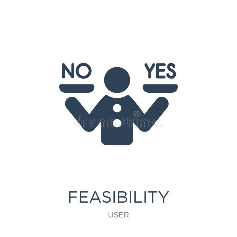 icône de faisabilité dans le style à la mode de conception icône de faisabilité d'isolement sur le fond blanc icône de vecteur de illustration libre de droits