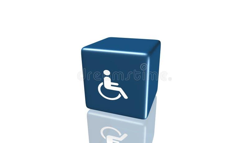 Icône de fauteuil roulant, signe, 3D illustration, la meilleure icône illustration stock