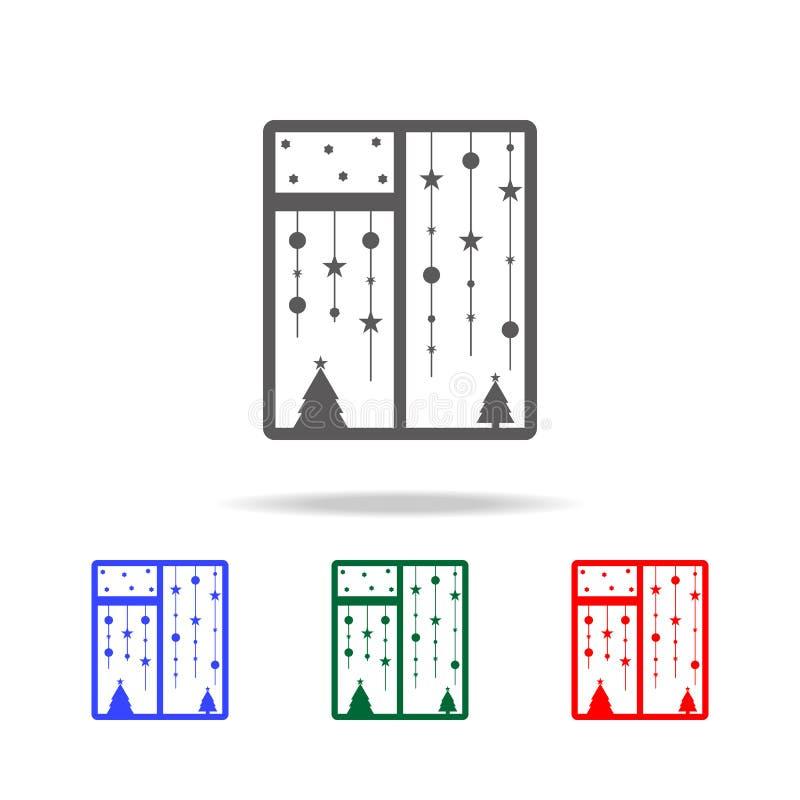 Icône de fenêtre de Noël Éléments des vacances de Noël dans les icônes colorées multi Icône de la meilleure qualité de conception illustration stock