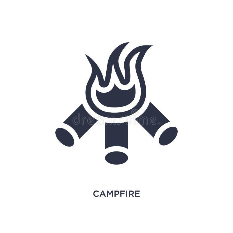 icône de feu de camp sur le fond blanc Illustration simple d'élément de concept campant illustration de vecteur