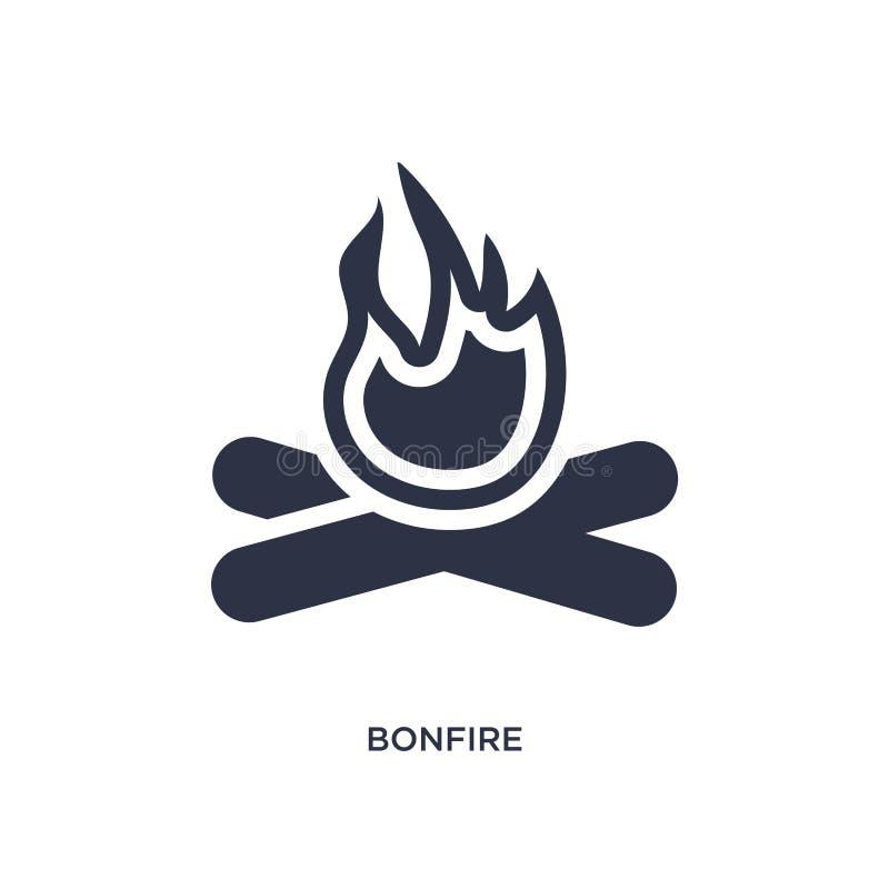 Icône de feu sur le fond blanc Illustration simple d'élément de concept campant illustration libre de droits