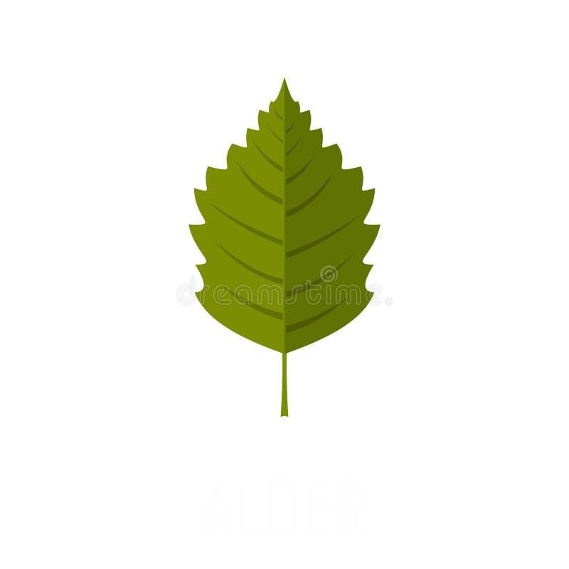Icône de feuille d'aulne, style plat illustration stock