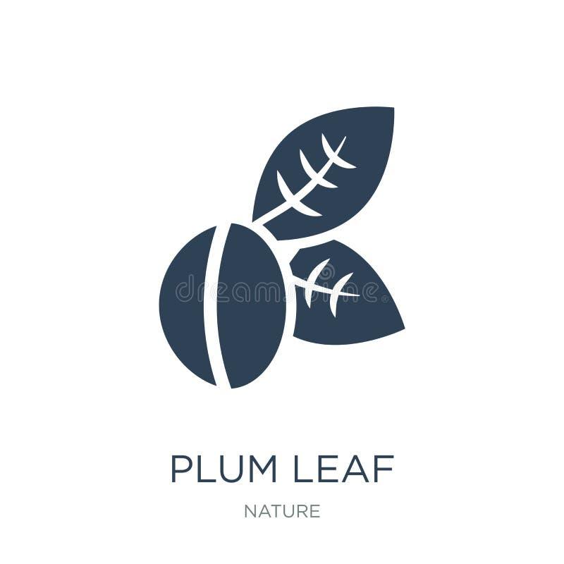 icône de feuille de prune dans le style à la mode de conception icône de feuille de prune d'isolement sur le fond blanc apparteme illustration de vecteur