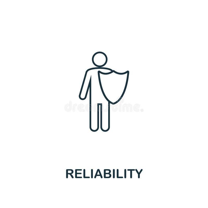 Icône de fiabilité Ligne mince symbole de conception de collection d'icônes d'éthique d'affaires Icône parfaite de fiabilité de p illustration de vecteur