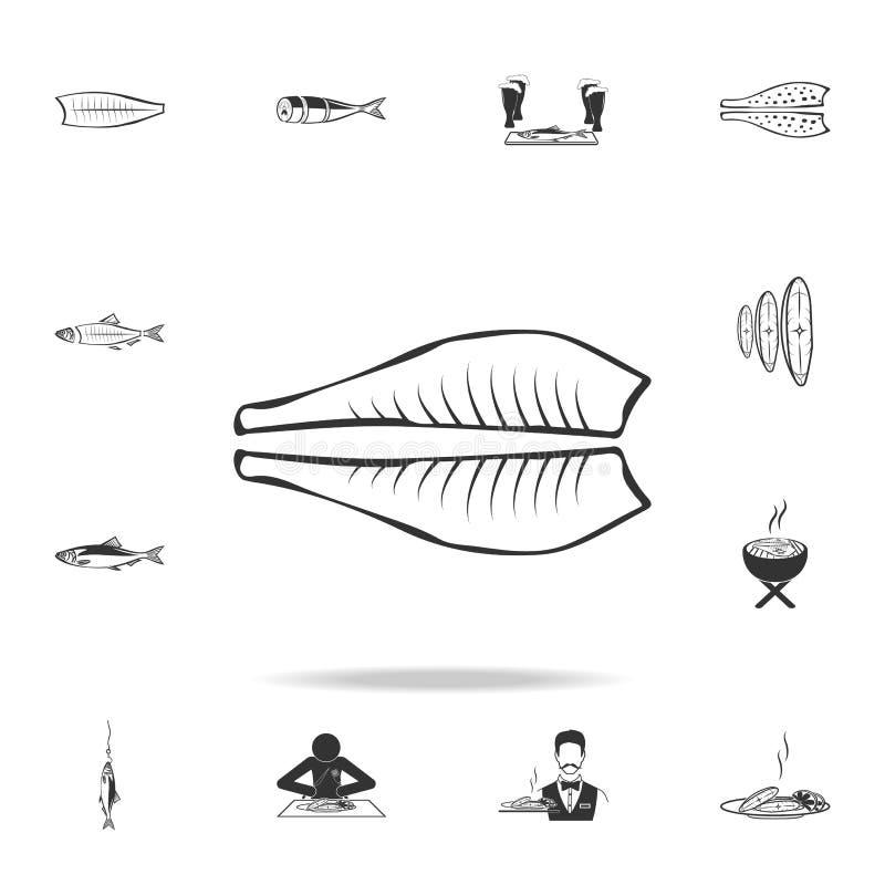 icône de filet de flétan Ensemble détaillé d'illustrations de poissons Icône de la meilleure qualité de conception graphique de q illustration libre de droits