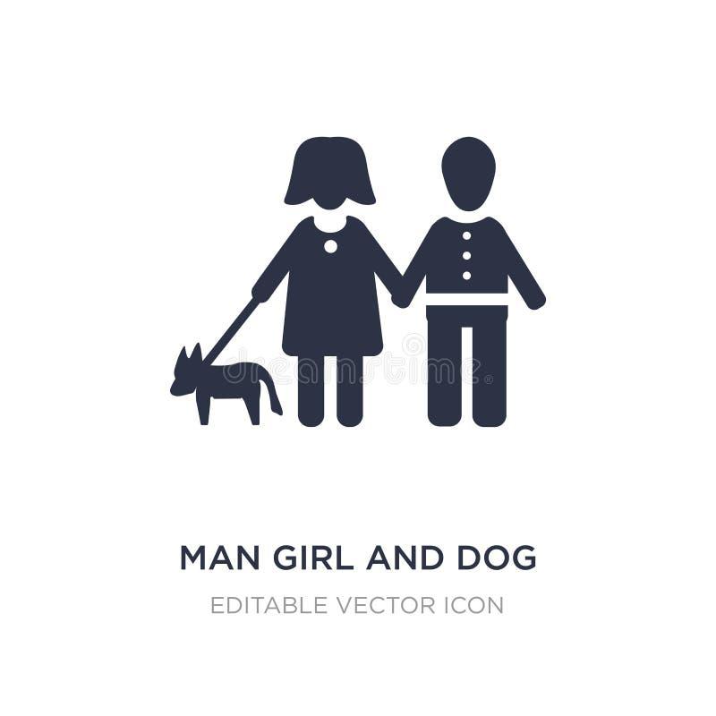 icône de fille et de chien d'homme sur le fond blanc Illustration simple d'élément de concept de personnes illustration de vecteur