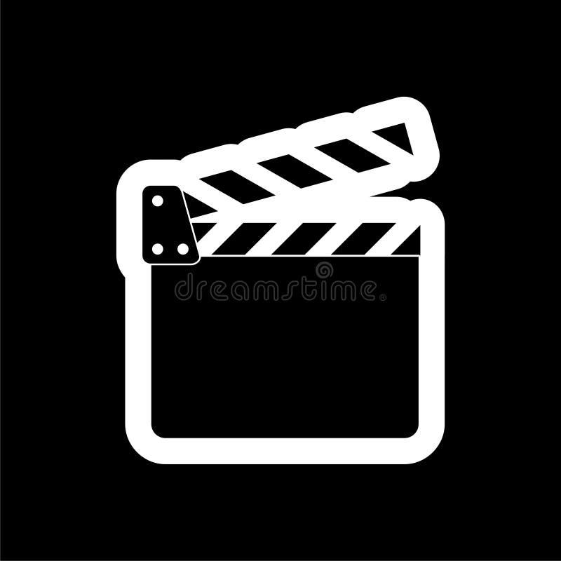 Icône de film, autocollant d'aileron de film sur le fond foncé illustration stock