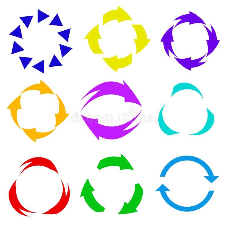 Icône de flèche de cercle Régénérez et rechargez l'icône de flèche Vecto de rotation illustration de vecteur