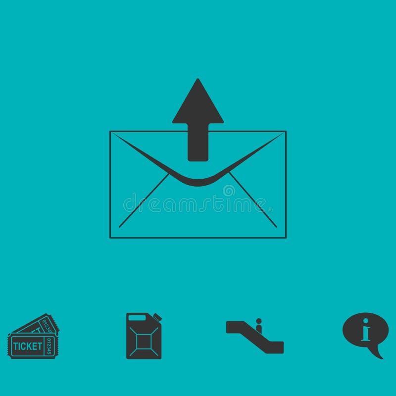 Icône de flèche de courrier à plat illustration stock