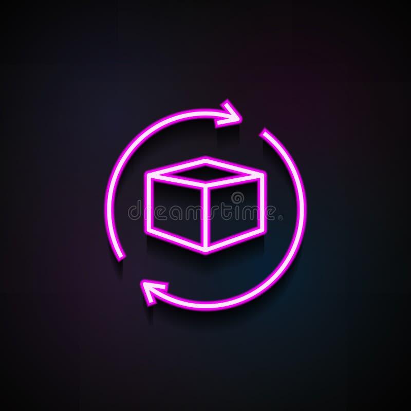Icône de flèche de globe et de boîte Élément des icônes de logistique pour les apps mobiles de concept et de Web L'icône au néon  illustration stock
