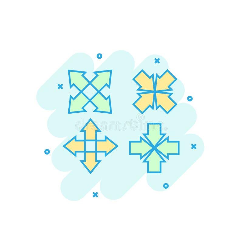 Icône de flèches colorée par bande dessinée dans le style comique Illu de signe de curseur de but illustration libre de droits