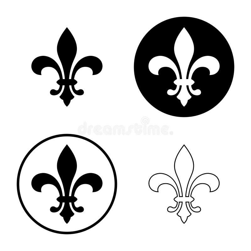 Icône de Fleur de lis, symbole héraldique français royal illustration de vecteur