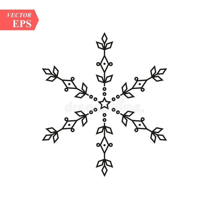Icône de flocon de neige de noir de vecteur Icônes simples de flocon de neige d'isolement sur le fond blanc pour la conception et illustration de vecteur