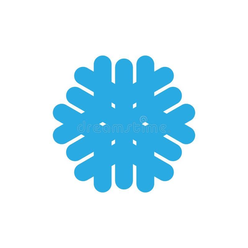 Icône de flocon de neige Signe bleu de flocon de neige de silhouette, d'isolement sur le fond blanc Conception plate Symbole de l illustration de vecteur
