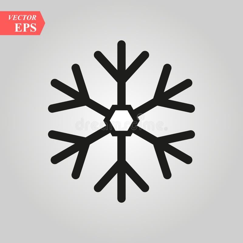 Icône de flocon de neige Signe noir de flocon de neige de silhouette, d'isolement sur le fond blanc Conception plate Symbole de l illustration de vecteur