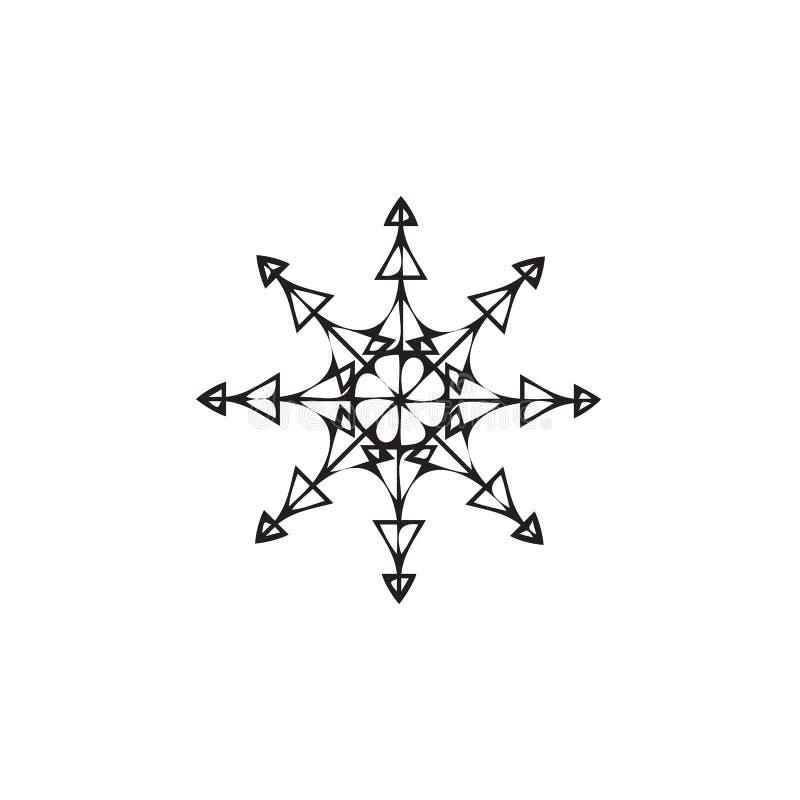 Icône de flocon de neige Thème de Noël et d'hiver sur le fond blanc illustration libre de droits