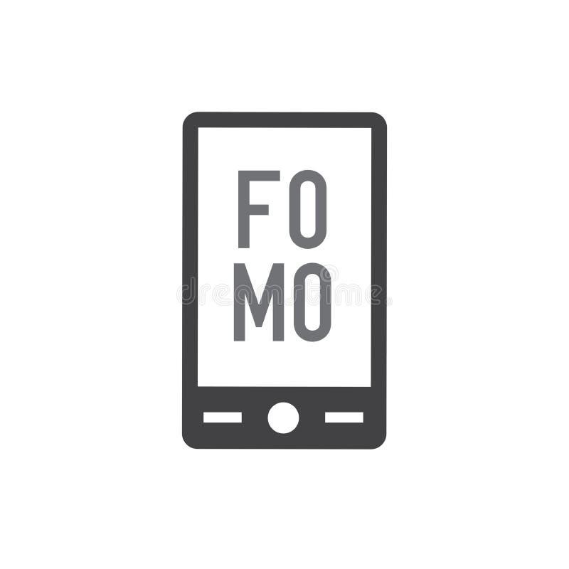 Icône de FOMO - crainte de manquer l'acronyme moderne à la mode illustration libre de droits