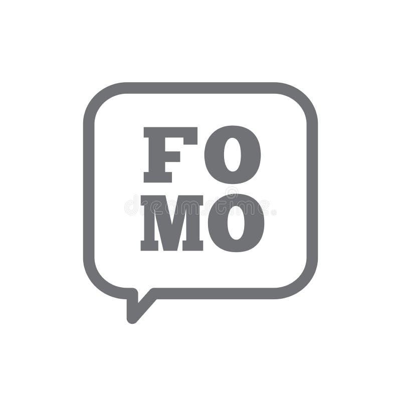 Icône de FOMO - crainte de manquer l'acronyme moderne à la mode illustration de vecteur