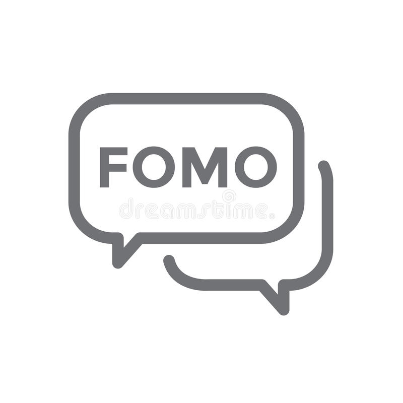 Icône de FOMO - crainte de manquer l'acronyme moderne à la mode - M social illustration de vecteur