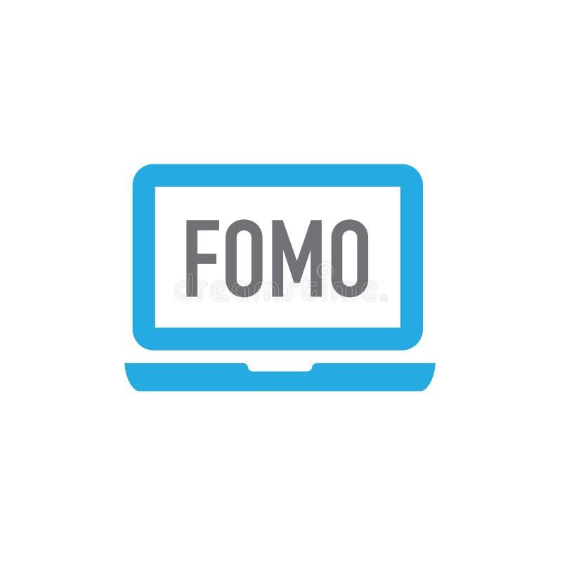 Icône de FOMO - crainte de manquer l'acronyme moderne à la mode - M social illustration stock
