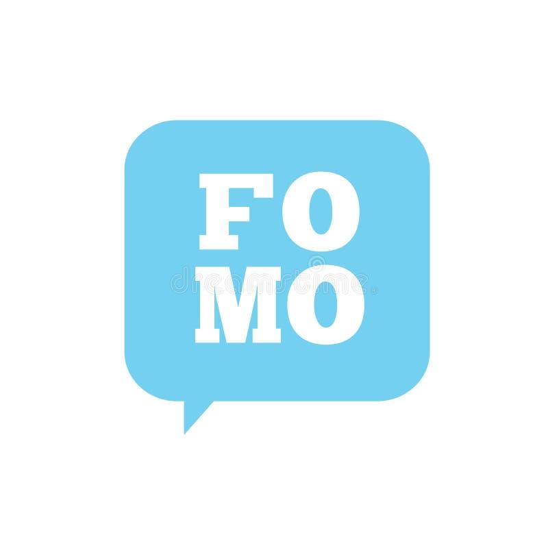 Icône de FOMO - crainte de manquer l'acronyme moderne à la mode - M social illustration libre de droits